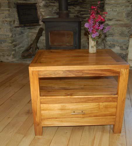 Duurzame teak hardhouten tv tafel/hi fi kast - een lade met open plank
