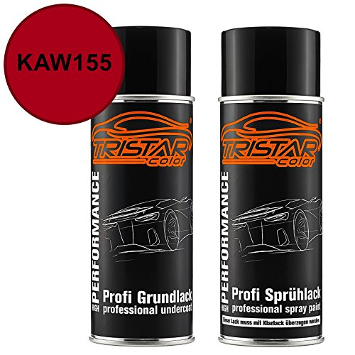 TRISTARcolor Motorradlack Spraydosen Set für Kawasaki KAW155 Candy Red Metallic Grundlack Basislack Sprühdose 400ml
