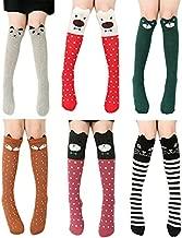 6 Pack Girls Socks, Cotton Over Calf Knee High Socks (Cartoon Animal Panda Cat Bear Fox)