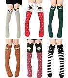 6 Pack Girls Socks, Cotton Over Calf Knee High Socks (Cartoon Animal Panda Cat...