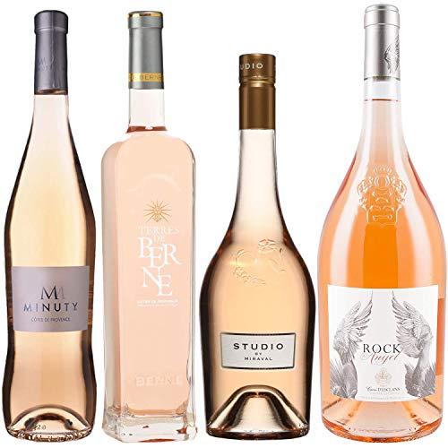 Best of Provence - Lot de 4 bouteilles - M de minuty - Terre de Berne - Studio de Miraval - Esclan Rock Angel - Côtes de Provence Rosé 2019 (4 * 75cl)