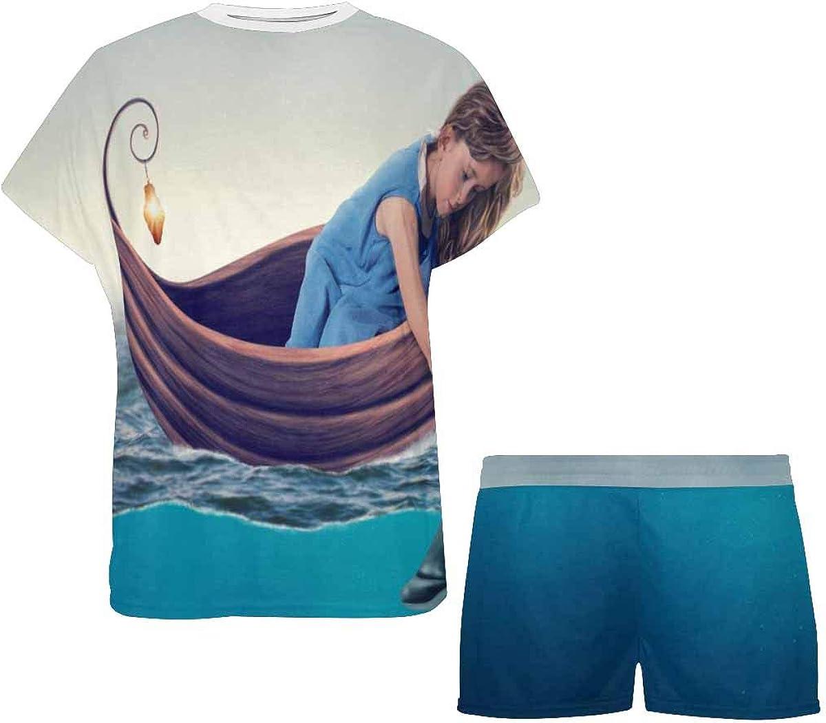 INTERESTPRINT Little Girl Playing with Dolphin Women's Pajamas Short Sets Round Neck Short Sleeve Sleepwear
