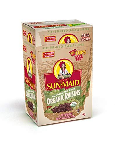 Sun-Maid Organic Raisins - Dried Fruit Snacks Healthy snacks for kids - 64oz (Split Into 2 Resealable Bag of 2 LBS Each, Total of 4 LBS)