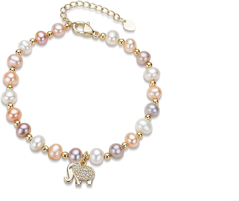 Freshwater Pearl Bracelets Multicolor Cultured Pearl 14K Gold Fi