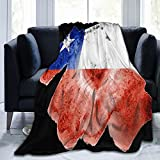 Manta de franela blanca con banderas de Chile mullida, cómoda, cálida, ligera, suave, para sofá, dormitorio