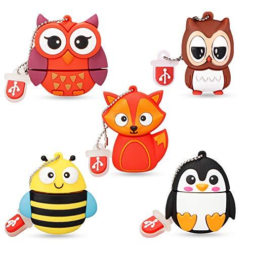 Clé USB Mignon 16 Go Lot de 5, Wiedeus Mémoire Flash USB avec Modèle Animal Mignon, Lecteurs Flash USB x 5 Pièces Cadeaux de Stick Mémoire