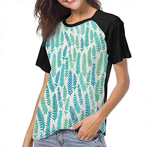 QIAOQIAOLO Teal Printed Women's Short Sleeve T-Shirt Wear Inner and Outer Slim-fit Teens