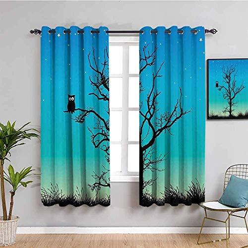 Nileco Cortinas Opacas Termicas - Azul dibujos animados árboles búho estrellas - 234x138 cm - Cortinas del Dormitorio de la Habitación de los Niños - 3D Impresión Digital con Ojales Aislamiento Térm