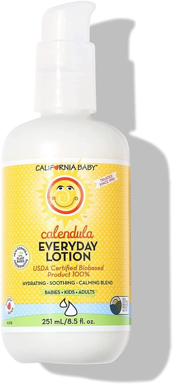 California Baby Calendula Everyday Lotion (8.5 Ounces) Moisturizer for Dry, Sensitive Skin   Post Bath and Diaper Changing   Non-Greasy, Fast-Absorbing Formula (Calendula - 8.5 oz)