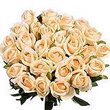 Veryhome 10 Pezzi Fiori Artificiali Rose di Seta Falso Bouquet da Sposa da Sposa per la casa Giardino Partito Decorazioni Floreali (Champagne, bocciolo di Rose)