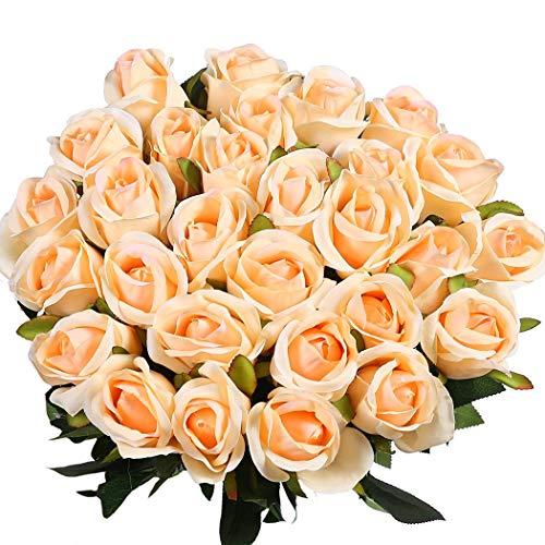 Veryhome 10 Piezas Artificial Seda Rosa Flores Falsas Ramos de Flores para La Decoración de La Boda Home Birthday Party Arrangment Jardín Decoración (Champán, Capullo de Rosa)