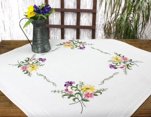 Kamaca Blumen Feuerwerk - Kit de punto de cruz para mantel (algodón, mantel de 80 x 80 cm), diseño de flores, color amarillo, violeta y rosa
