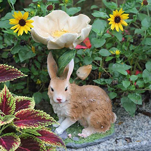 GLYP Rabbit Bird Feeder, Resin Animal Garden Decoration