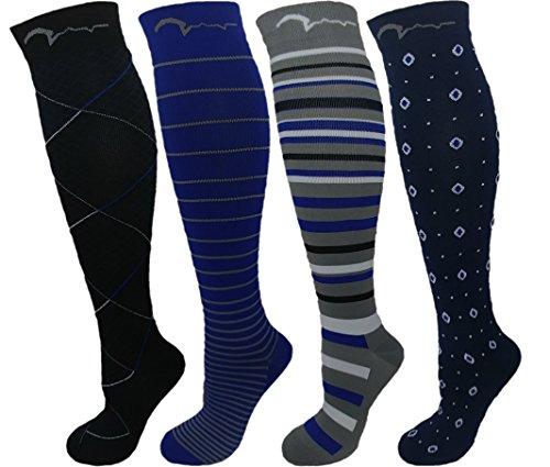 Mens, Womens 4 Pair 15-20mmHg Graduated Compression Socks. Classic Designs. M/L