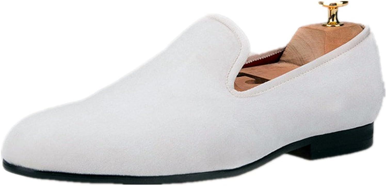 HI&HANN colorful Men Velvet Loafers Men Dress shoes Men's Flats Male Smoking Slippers Casual shoes