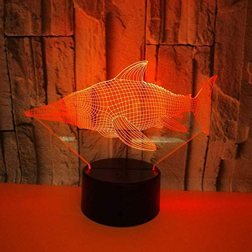 Vis 3D LED lamp USB Kleurrijke Touch Led Gift Vest 3D LED Night Light Mooie 7 kleuren veranderende 3D lamp