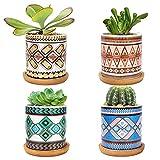 LINGSFIRE 7.5CM Macetas para Cactus de Cemento con Plato de Bambú Paquete de 4, Mini Maceteros Pequeños para Suculento Plantas Casa y Jardin Boda Decorativos Interior (A-Mandala-Set de 4)