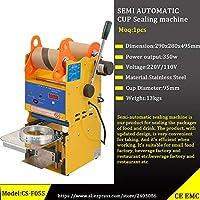 自動バブルティーカップシール機110V 400-600Cups / Hフルーツジュースプラスチックドリンクカップシーラー (Semi Automatic)