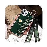 おしゃれなクリエイティブリストバンド愛for iPhone 11 Pro Max保護ケースfor iPhone 6 7 8プラスX XR XS MAXストラップ付き保護カバー-Green-for iPhone 11 Pro
