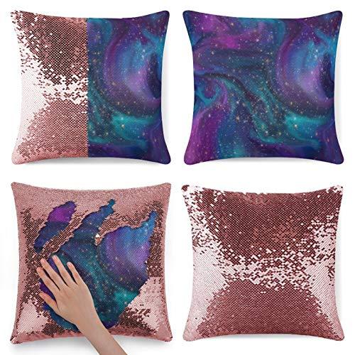 Traasd11an Funda de almohada con lentejuelas brillantes, color azul turquesa y morado, funda de cojín con cremallera oculta, funda de almohada para sofá de cama, 40,6 cm, color rosa