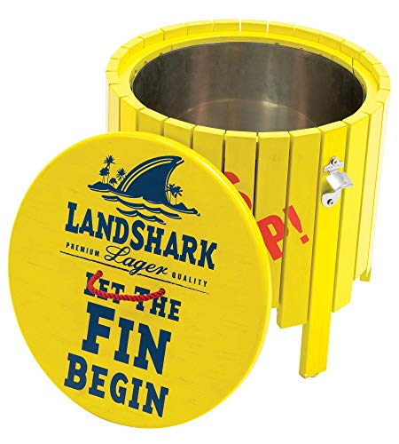Margaritaville Landshark Beverage Wood Side Table with Hidden Cooler & Bottle Cap Opener - Fins Up