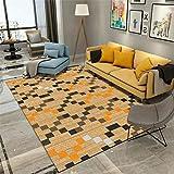 WJTHH Alfombra moderna tradicional alfombra grande para dormitorio, color caqui negro y naranja con patrón de diamantes, alfombra de yoga para dormitorio, 160 x 230 cm