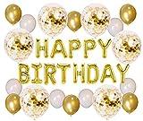 Soulstice © | Die glanzvolle Geburtstagsdeko in Gold - goldene Happy Birthday Ballons als Blickfang für Ihre Geburtstagsfeier