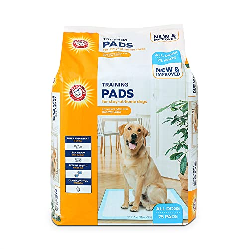Arm & Hammer for Dogs Training Pads for Stay-at-Home Dogs | New & Improved Super Absorbent, Leak-Proof, Odor Control Quilted Dog Training Pads with Baking Soda | 75 Count Wee Wee Pads