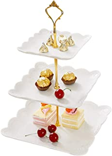 3 Tier Ceramic Cake Stand Cupcake Cakes Desserts Fruits Candy Buffet Stands for Wedding Birthday Baby Shower Tea Party Table Decor White