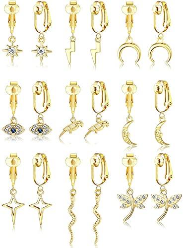 LOLIAS 9Paia Orecchini a Clip per Donna Ragazza Set Orecchini Boho Oro 14K Ciondoli Orecchini a Cerchio Pendenti Clip Orecchini Non Perforanti Orecchini a Clip Leggeri Set di Gioiell