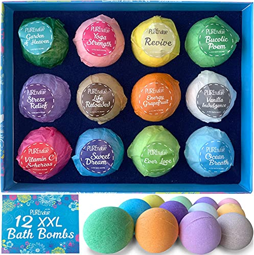 Pure Nature Lux Spa 12 Bath Bombs - Gift Set with Organic Essential Oils