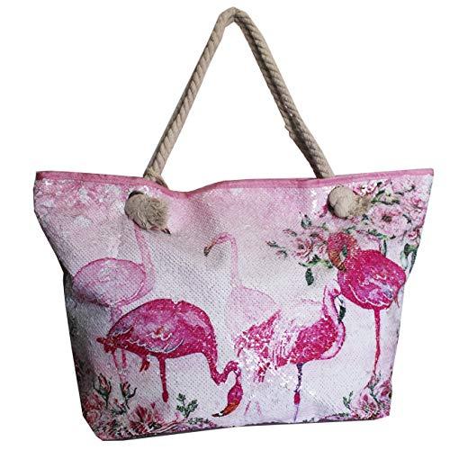 FERETI Tasche Strand Flamingo mit Pailletten Glitzer Rosa Strandtasche Groß Vogel Glanz