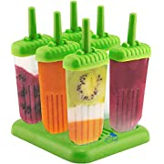 6 Popsicle Molds - Ice Pop Maker Set with Tray and Drip Guard, BPA Free, Assorted Colors, Green, or Pink - By Chuzy Chef