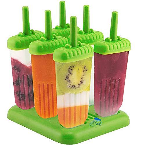 6 Stieleisformen - Wassereis-Herstellset mit Tablett und Tropfschutz, BPA-frei, grün - von Chuzy Chef®