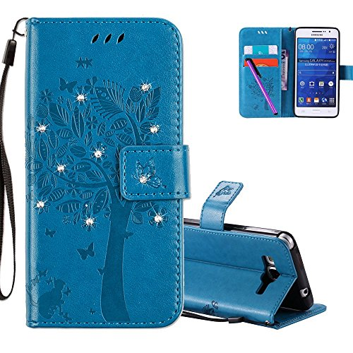 HMTECHUS Samsung Galaxy Grand Prime G530 Case 3D Crystal Embossed Cat Butterfly Bling PU Flip Stand Card Holders Wallet Cover for Samsung Galaxy Grand Prime G530 Wishing Tree Diamonds Blue KT
