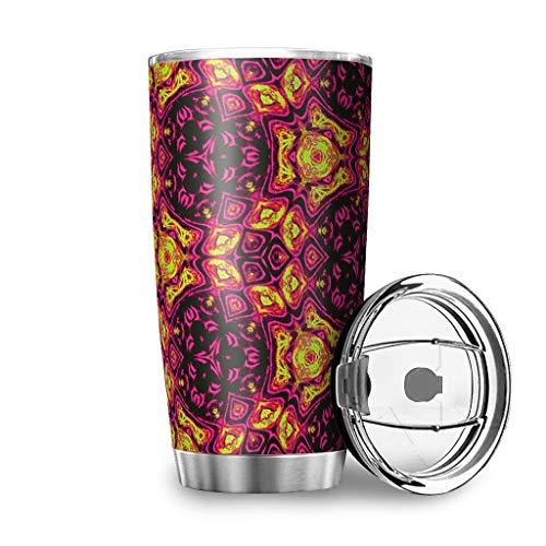 YshChemiy Abstracto flores de colores Vaso con tapa de cierre Taza de café aislada al vacío Taza colorida para el gimnasio bebidas calientes o frías blanco 600ml