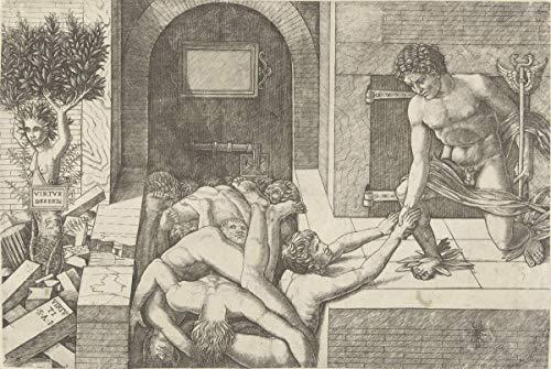 Andrea Mantegna Giclee Auf Leinwand drucken-Berühmte Gemälde Kunst Poster-Reproduktion Wand Dekoration(Mercury Axis Personification Of Virtue, das Schwebe in Daphne anstrebt, änderte im Baum) #XFB