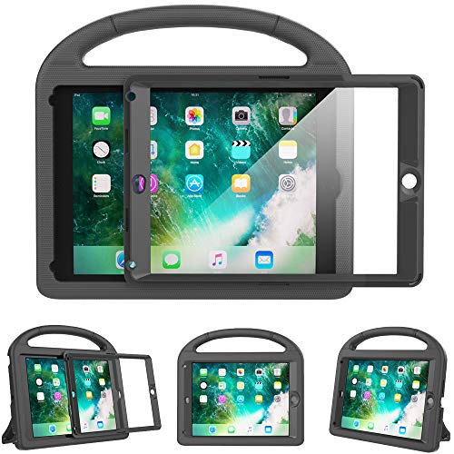 Surom Kids Case for New iPad 9.7 2018/2017 with Built-in Screen Protector, Light Weight Shock Proof Handle Stand Kids Case for iPad 9.7 2017/2018 iPad Air/iPad Air 2/iPad Pro 9.7 - Black