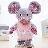 siqiwl Peluche Robot Music Mouse Giocattoli Dance Talk Peluche Elettronico Mouse Controllo del Suono Mouse Interattivi Canta Canzoni Animali per Bambini Regalo di Compleanno