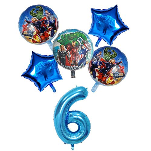 LEILEIMY Globo 6pcs Spiderman Foil Globos Number Ballon Cumpleaños Fiesta Decoraciones Boy Baby Ball Ball Festival (Color : Blue 6)