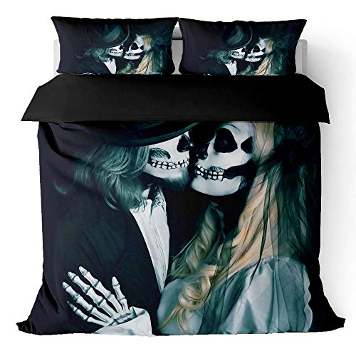 Keketu Duvet covers 3D printing new bedding, skeletons of men and women kissing in love with velvet quilt (with pillowcase) or sheets (with zipper) easy to clean,F,3PCS 228 * 228cm