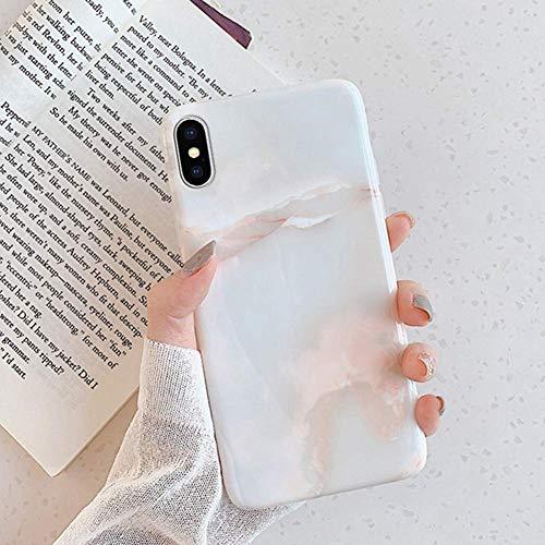 Herbests Kompatibel mit iPhone XS Max Hülle Matt Marmor Muster Weich Crystal Silikon Handyhülle Stein Marble Ultra Dünn Handytasche Kratzfest Schutzhülle TPU Bumper Case,Weiß