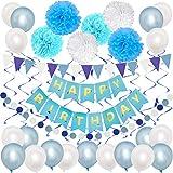 BESTINE Kit de Decoración de Globos de Fiesta de Cumpleaños con Banner Globo de Látex Flor Pom Pom Remolino Set para Niño Estudiante Adolescente Adulto (Blue)