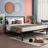 JAXSUNNY Black Metal Platform Bed Frame Heavy Duty Strong Steel with Wooden Slats,no Box Spring Needed,Under-Bed Storage Space,Queen Sized