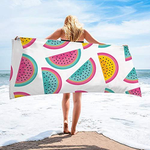Surwin Toalla de Playa Grande, Microfibra Hawai Impresión Secado Rápido Toalla de Piscina Toalla de Arena Antiadherente para Verano Playa, Yoga, Picnic, Hotel (Sandía,80x160cm)