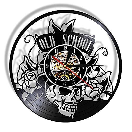 Old School Art Tattoo Studio Wall Sign Silent Vinyl Record Reloj de Pared Cráneo con Flor Reloj Wall Art Decor Hipster Men Gift Music Art Decor