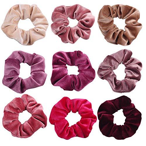 ShipeeKin 9 Stück Haargummis Samt Scrunchies Velvet Rosa Violett Weinrot, Elastische Bunte Haarbänder für Damen Mädchen Haarschmuck (9 Farben)