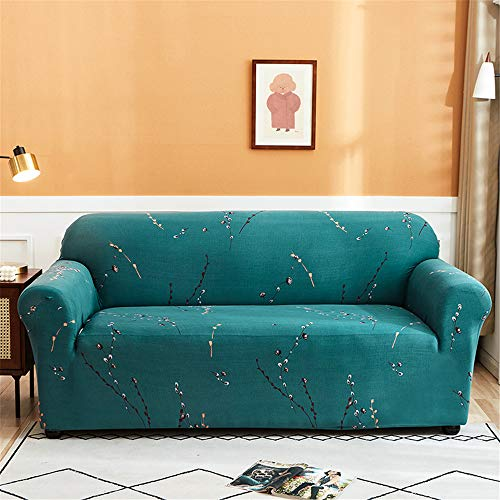 Funda Sofá de Universal Estiramiento, Morbuy Floral Impresión Cubierta de Sofá Cubre Sofá Funda Furniture Protector Antideslizante Elastic Soft Sofa Couch Cover (Ramas Verdes,4 plazas)