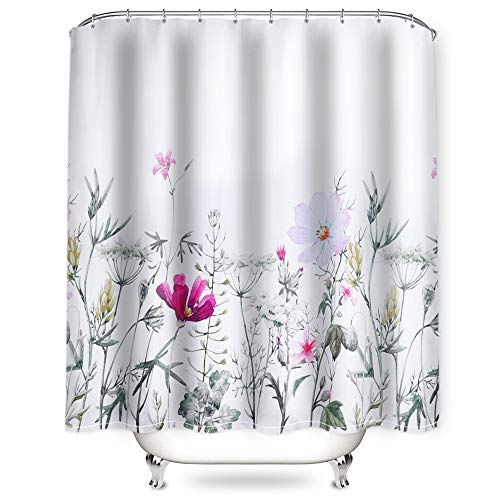 NIBESSER Duschvorhang 180x200 & 180x180 Duschvorhang-Anti-Schimmel-Wasserabweisend-Duschvorhangringen 12 Shower Curtain mit 3D Digitaldruck Grüne Pflanzen (Blumen2 180 * 180)