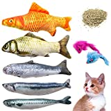 Youngever 7 Cat Toys Assortment with 5 Refillable Catnip Fish Cat Toys and 2 Catnip Fur Mouse Cat Toys, Extra Catnip for Refill, for Cat, Puppy, Kitty, Kitten, Ferret, Rabbit